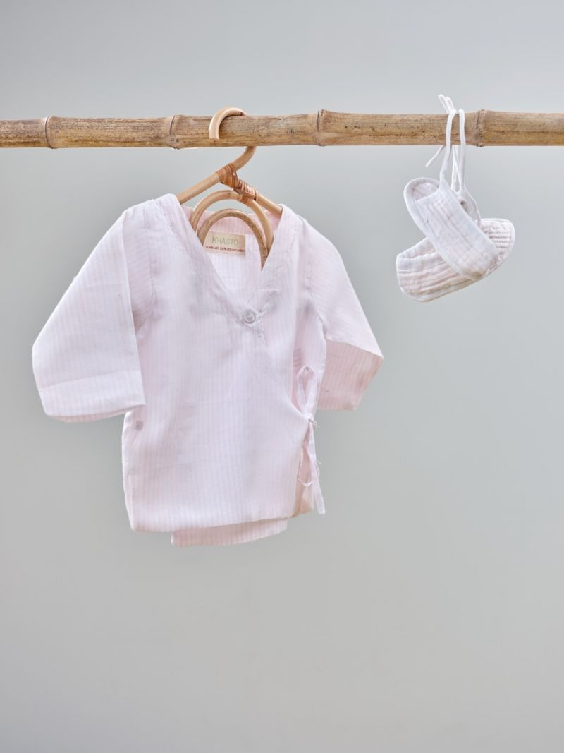 Baby Set - Thin Pink Stripes