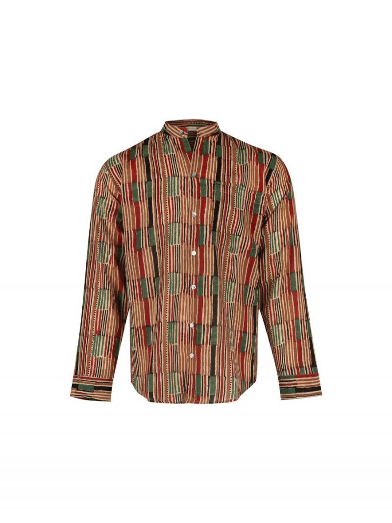 Men's shirt with African stripe made of cotton – Seasonal Collection