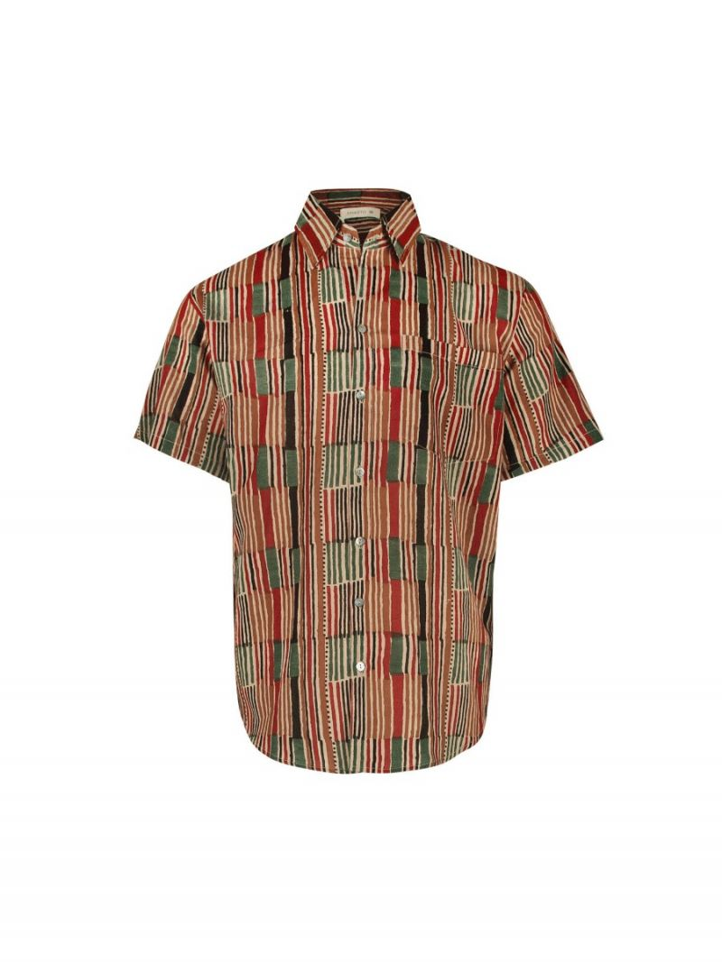 Men's short sleeves shirt with African stripe made of cotton – Seasonal Collection