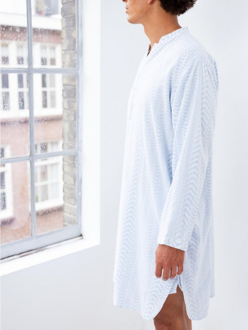 Nightshirt Blue Udaipur Print - Organic Cotton