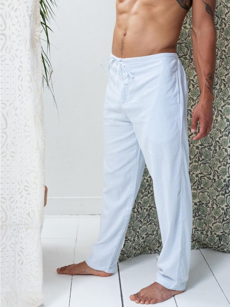 Lounge Pants Blue Stripes - Organic Cotton