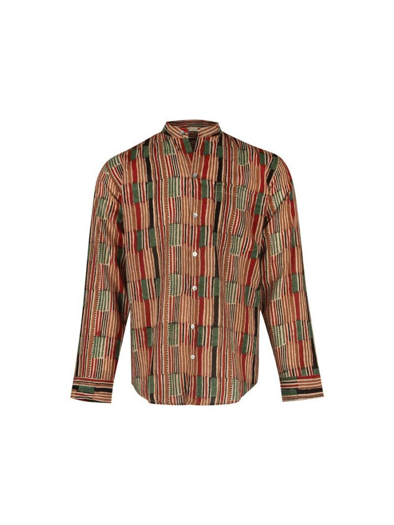 Heren blouse met African stripe gemaakt van katoen – Zomer Collectie