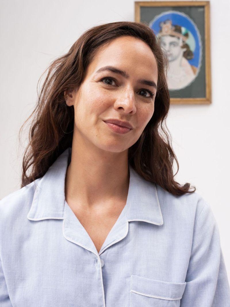 women's pajamas, 100% organic cotton, light blue